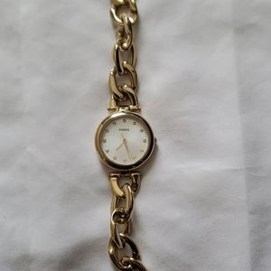 Gold-colored Fossil authentic bracelet watch